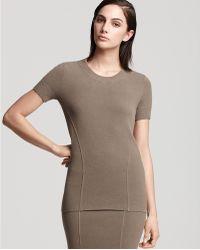 Donna Karan New York Doubleknit Stretch Viscose Short Sleeve Top - Lyst