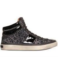 Jimmy Choo Leopard Printed Suede Sneakers - Lyst