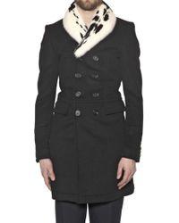 Burberry Prorsum - Mink Collar Wool Cashmere Blend Coat - Lyst
