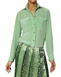 Chloé Crepe De Chine Shirt green - Lyst
