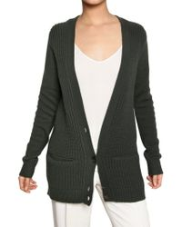 Chloé Ribbed Cashmere Cardigan Sweater - Lyst