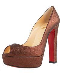 Christian Louboutin Glittered Thick-heel Platform Pump - Lyst