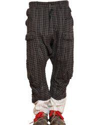 John Galliano Checked Wool Linen Cargo Trousers - Lyst
