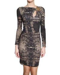 Roberto Cavalli Jewelled Printed Lycra Dress - Lyst