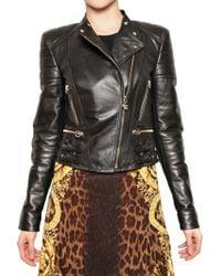 Versace Nappa Biker Leather Jacket - Lyst