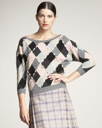 Dior - Laced-ribbon Argyle Sweater - Lyst