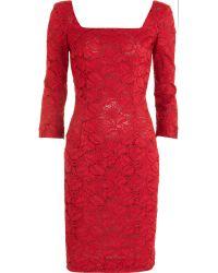 L'Wren Scott Square Neck Lace Dress - Lyst