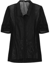 Sonia by Sonia Rykiel Paneled Cotton-tulle Blouse - Lyst