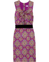 See By Chloé Velvet-waist Printed Silk Dress - Lyst