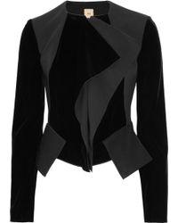 RM by Roland Mouret Houdini Folded Velvet and Crepe Jacket black - Lyst