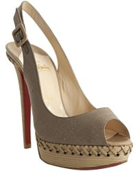 Christian Louboutin Taupe Canvas Indiana Sling 140 Lace-up Detail Platform Slingbacks - Lyst