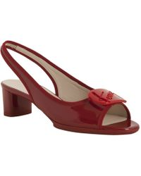 Ferragamo Red Patent Leather My Sun Open Toe Sling Backs - Lyst