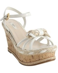 Prada White Patent Leather Cork and Jute Wedge Sandals - Lyst