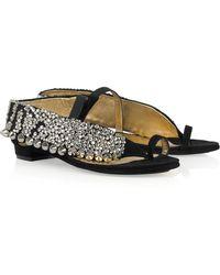 Vionnet Crystal-embellished Studded Suede Sandals - Lyst