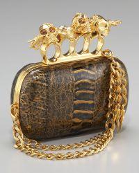Alexander McQueen Knuckle Duster Chain-strap Clutch, Black/gold - Lyst
