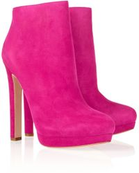 Alexander McQueen Suede Ankle Boots pink - Lyst