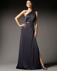 Halston Heritage One-shoulder Knot Gown - Lyst