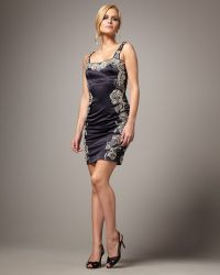 Mandalay - Beaded-trim Satin Dress - Lyst
