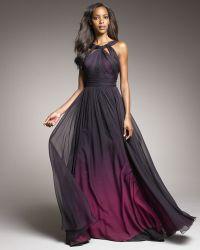 Monique Lhuillier Shirred Ombre Gown - Lyst