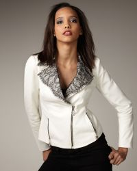 Royal Underground - Lace-trim Leather Jacket - Lyst
