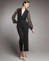 Saint Laurent Sheer-sleeve Tuxedo Jumpsuit - Lyst
