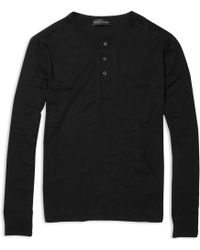 Ralph Lauren Black Label - Cotton Henley Top - Lyst