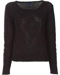 Ralph Lauren Crotchet Knit Sweater - Lyst