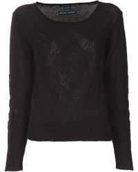 Ralph Lauren Crotchet Knit Sweater black - Lyst