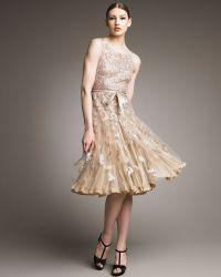 Oscar de la Renta Metallic-embroidered Cocktail Dress - Lyst