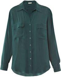 L'Agence Silk Chiffon Shirt - Lyst