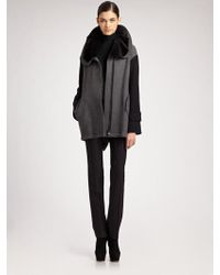 Akris Punto Tweed Parka with Detachable Collar - Lyst