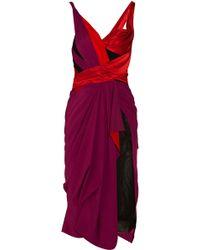 Zac Posen Asymmetric Draped Silk-blend Dress purple - Lyst