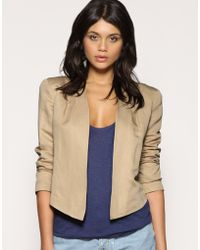 ASOS Collection Asos Tailored Cropped Pleat Shoulder Blazer - Lyst