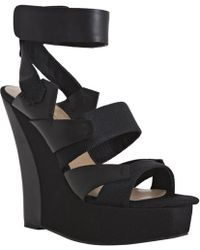 L.A.M.B. Black Leather and Fabric Kapono Strap Wedges - Lyst