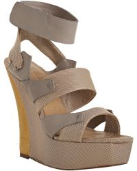 L.A.M.B. Nude Leather and Fabric Kapono Strap Wedges - Lyst