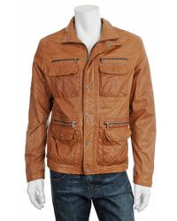 Michael Kors Leather Utility Jacket - Lyst