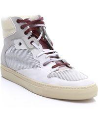 Balenciaga Calf Skin Mixed Fabric High-top Trainers white - Lyst
