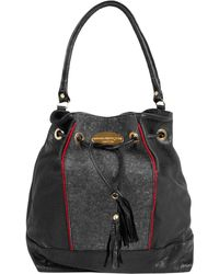 Collection Privée - Charcoal Baccy Leather and Wool Bucket Bag - Lyst