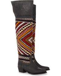 Cobra Society Hand-woven Wool and Brushed-leather Thigh Boots black - Lyst