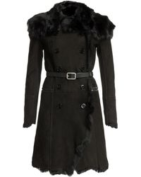 Patrizia Pepe - Suede and Shearling Belted Coat - Lyst