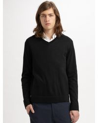 Theory Leiman V-Neck Cashmere & Cotton Sweater - Lyst