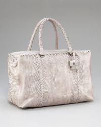 Bottega Veneta Python Top-handle Bag - Lyst