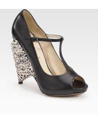 Nicholas Kirkwood Peep Toe Wedge Sandals - Lyst