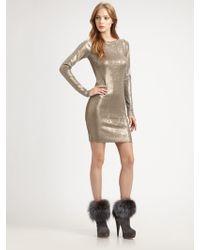 Alice + Olivia Tabitha Fitted Metallic Dress - Lyst