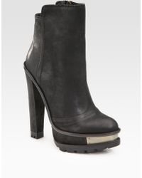 B Brian Atwood Taurasa Leather Lug-sole Ankle Boots - Lyst