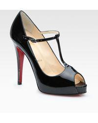 Christian Louboutin Patent Leather Peep Toe Pumps - Lyst