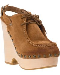 7 For All Mankind - Idina - Camel Suede Slingback Clog - Lyst