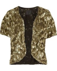Anna Sui Sequined Jacket gold - Lyst