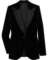 Giambattista Valli Satin-trimmed Velvet Tuxedo Jacket black - Lyst