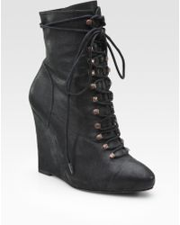Joie Break On Through Leather Lace-up Wedge Ankle Boots - Lyst